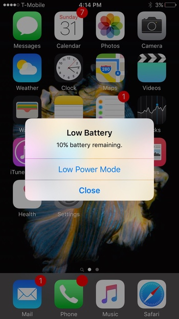 Low Power Mode alert