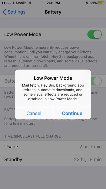 Low Power Mode Disclaimer