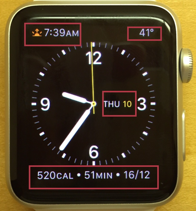 Heres my watch face with the complications highlighted.
